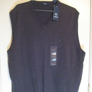NWT Mens Izod Black Pullover Sweater Vest Large